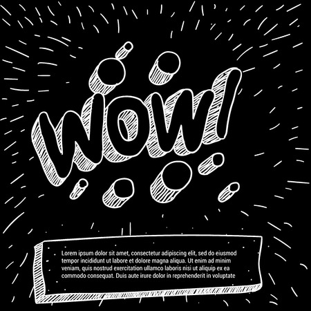 Wow! Black and white doodle style vector mock up. Illustration