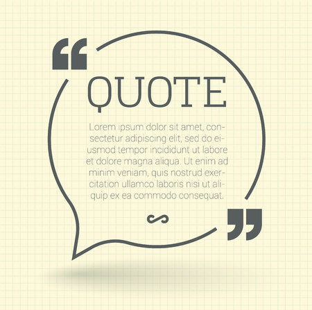 quotation: Quote speech bubble with shadow. Vector mock up.