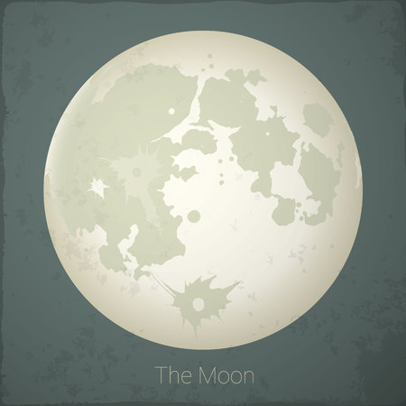 fool moon: The Fool Moon on grey background. Vector lunar map.
