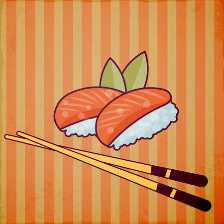 Asian fast food with chop sticks. Vector icon. Illustration