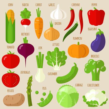 Flat design vector fresh raw vegetables icon set.