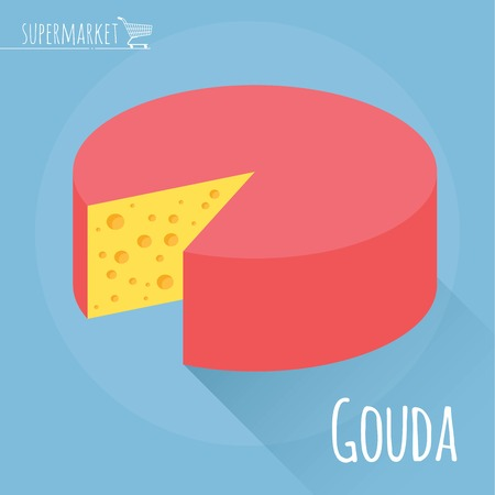 edam: Flat design Gouda cheese vector icon  on light blue background with long shadow Illustration