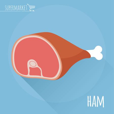 Flat design vector icon of traditional ham.