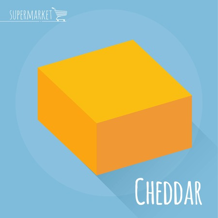 Flat design Cheddar cheese vector icon on light blue background with long shadow