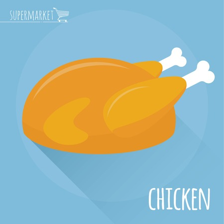 Flat design Roasted chicken vector icon on light blue background with long shadow Illustration