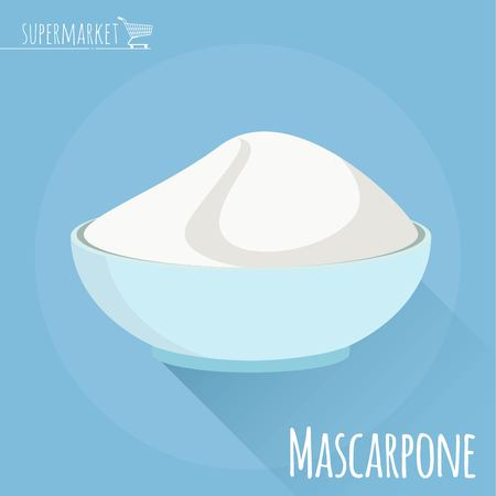 Flat design Mascarpone cheese vector icon  on light blue background with long shadow Illustration