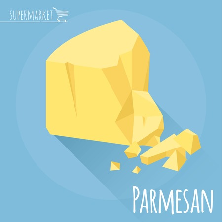 bri: Flat design Parmesan cheese vector icon on light blue background with long shadow Illustration