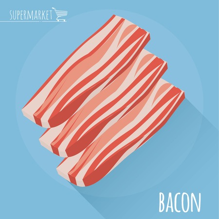 Flat design sliced bacon vector icon on light blue background with long shadow. Illustration