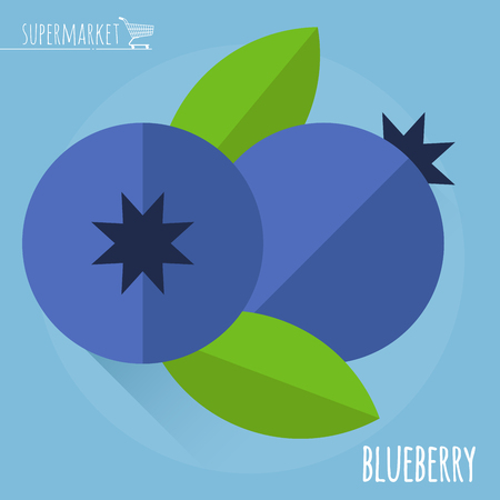 whortleberry: Blueberry.  Long shadow flat design vector icon.