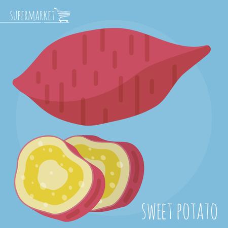 Flat design sweet potato vector icon template Illusztráció