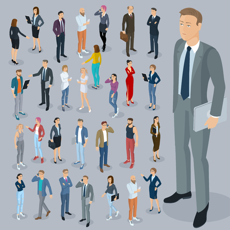 Set of isometric 3d flat design vector people different characters, styles  and professions. Isometric acting man and woman full length diverse acting poses collection.