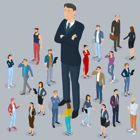 Businessman big boss leader office abstract with a background of isometric 3d flat design vector people different characters, styles  and professions, full length diverse acting poses collection. Illustration