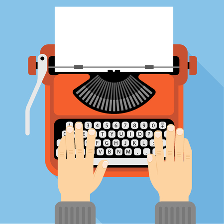 Flat design vector retro typewriter icon template Illustration