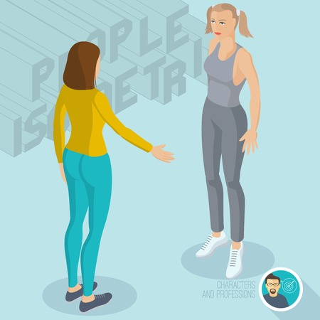 Two ladies communicating in gym. Isometric 3d flat design vector people different characters, styles and professions, full length diverse acting poses collection.