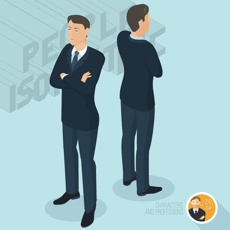 Cross-armed businessman, front and back view. Isometric 3d flat design vector people different characters, styles and professions, full length diverse acting poses collection.