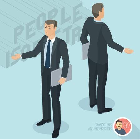 Empresario sosteniendo el cuaderno y la comunicación. Vista delantera y trasera. Personajes isométricos 3d de diseño plano de personas diferentes personajes, estilos y profesiones, diversidad de longitud completa actuando plantea colección.