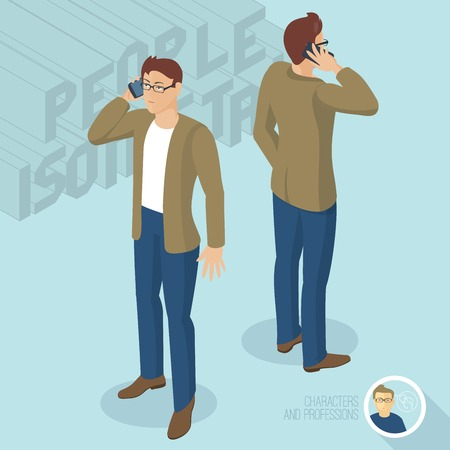 phoning: Young man phoning. Front and back view. Isometric 3d flat design vector people different characters, styles and professions, full length diverse acting poses collection.