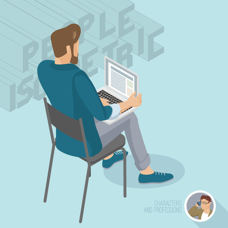 Young man sitting with notebook. Back view. Isometric 3d flat design vector people different characters, styles and professions, full length diverse acting poses collection. Illustration