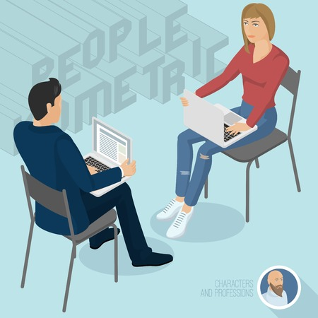 Man and woman sitting with notebooks office abstract. Isometric 3d flat design vector people different characters, styles and professions, full length diverse acting poses collection.