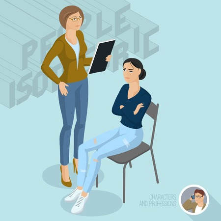 Sitting and standing  ladies communicating in office. Isometric 3d flat design vector people different characters, styles and professions, full length diverse acting poses collection.