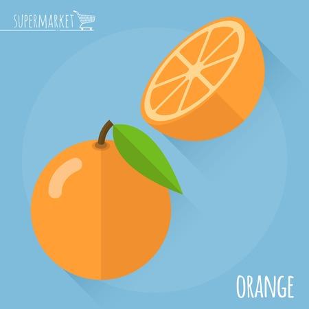 flat: Orange.  Long shadow flat design vector icon.