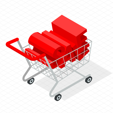 abatement: Isometric supermarket shopping cart  vector icon template. Trendy flat design mock up.