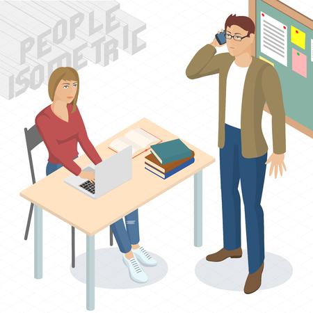 Conjunto de diseño isométrico 3d plana vector de pie y sentado de negocios diferentes personajes, estilos y profesiones. Isométrico hombre de actuación de trabajo en equipo de oficina frente y vista posterior colección. Vectores