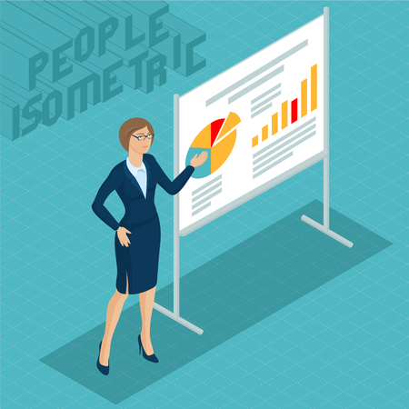 Young woman at the business presentation in a trendy office.   Isometric 3d flat design vector people different characters, styles and professions, full length diverse acting poses collection.