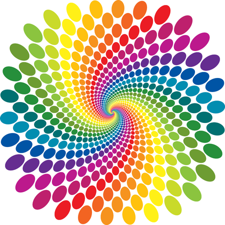 Rainbow swirl color dot screen vector abstract background. Ilustrace