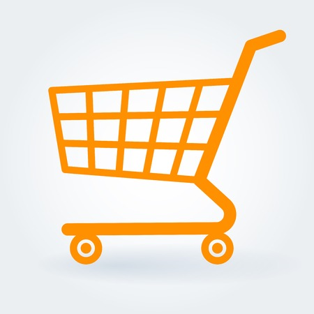 Flat design shopping supermarket shop retail store cart vector icon.