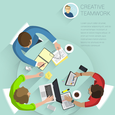 Set of top view flat design vector office people different characters, styles and professions. Creative teamwork process, diverse acting poses front and back view collection. Illustration