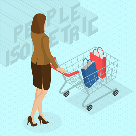 Young woman walking with shopping cart. Back view.  Isometric 3d flat design vector people different characters, styles and professions, full length diverse acting poses collection. Illustration