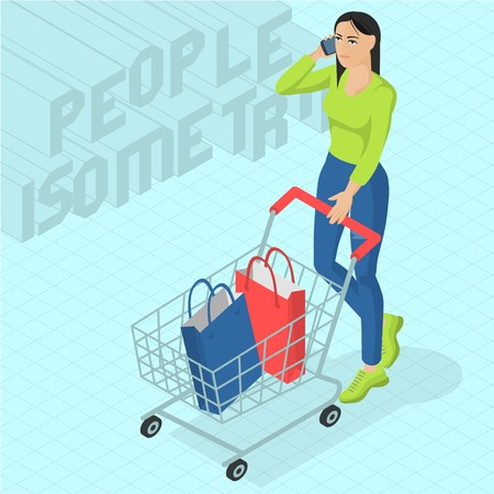 Young woman walking with shopping cart. Front view. Isometric 3d flat design vector people different characters, styles and professions, full length diverse acting poses collection. Ilustrace