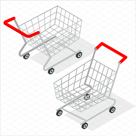 Isometric supermarket shopping cart  vector icon template. Trendy flat design mock up.