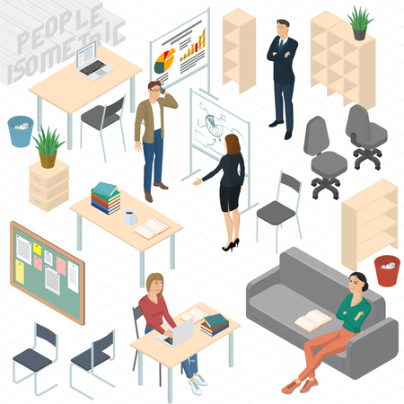 Set of isometric 3d flat design vector standing and sitting business people different characters, styles and professions. Isometric acting man teamwork in office  front and back view collection.