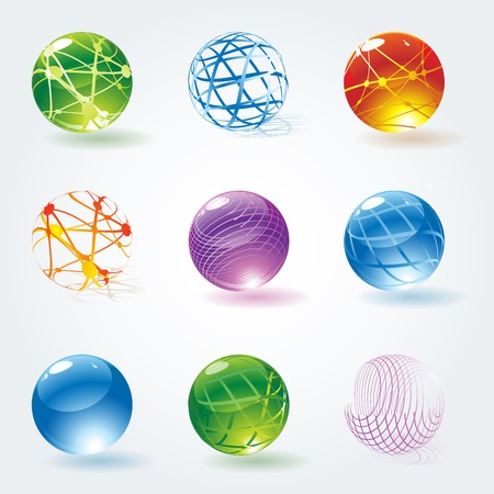 Abstract 3d glossy transparent textured spheres. Vector icon design elements and buttons. Ilustrace
