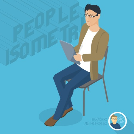 Young man sitting with tablet. Front view. Isometric 3d flat design vector people different characters, styles and professions, full length diverse acting poses collection.