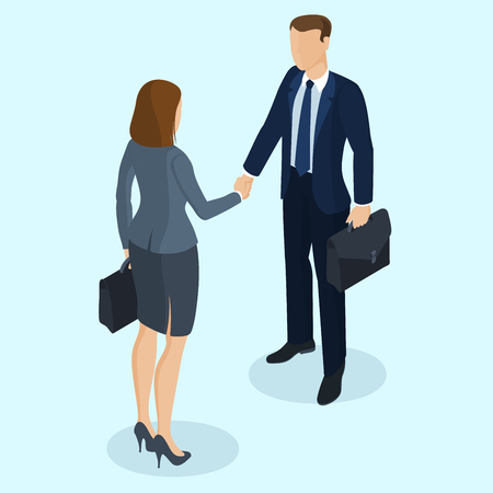 Successful businessman and businesswoman handshaking after negotiation. Isometric 3d flat design vector people different characters, styles and professions.