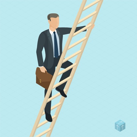 Ladder to success 3d isometric vector abstract template. Man on the ladder, front view.  Man on the ladder, front view.