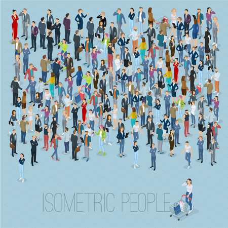 People crowd. Isometric vector background mock up. Ilustrace