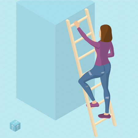 Ladder to success 3d isometric vector abstract template. Man on the ladder, front view.  Woman on the ladder, front view. Ilustrace