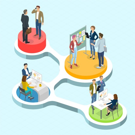 Isometric 3d flat design vector people communicating infographics. Ilustrace