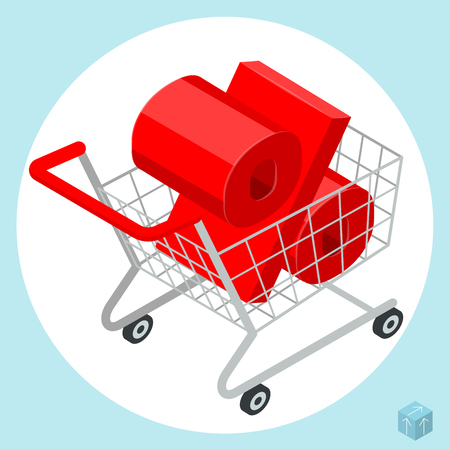 Shopping store supermarket cart loaded of a discount price drop percent sign. Vector icon template for sale clearance poster, banner, card and decoration.