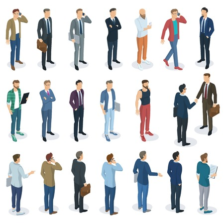 Set of isometric 3d flat design vector standing  men different characters, styles and professions.
