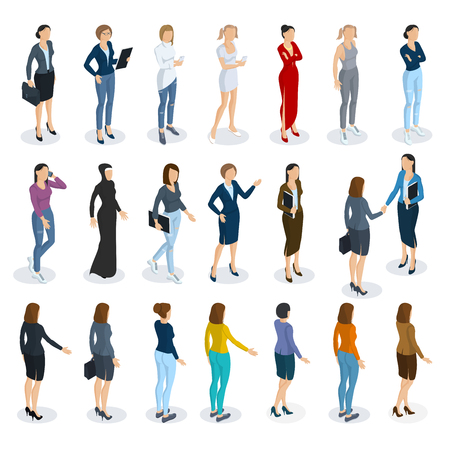 Set of isometric 3d flat design vector standing  women different characters, styles and professions. Ilustrace