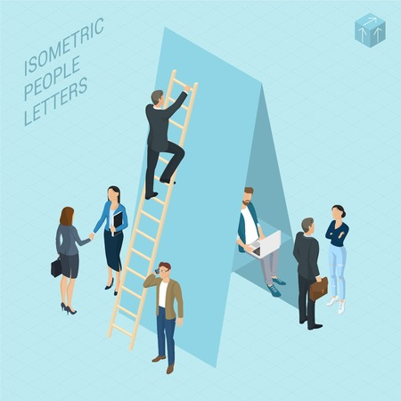 Flat design 3d light isometric typeface letters decorated with office workplace scenes, working, communicating, acting people, sitting and standing, front and back view.