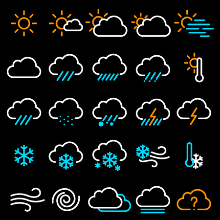 Thin line flat design weather sign icon vector set.