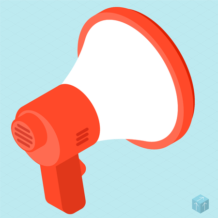 Megaphone vector isometric isolated flat design web mobile icon template.