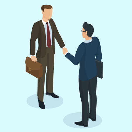 Successful businessmen handshaking after negotiation. Isometric 3d flat design vector people different characters, styles and professions.