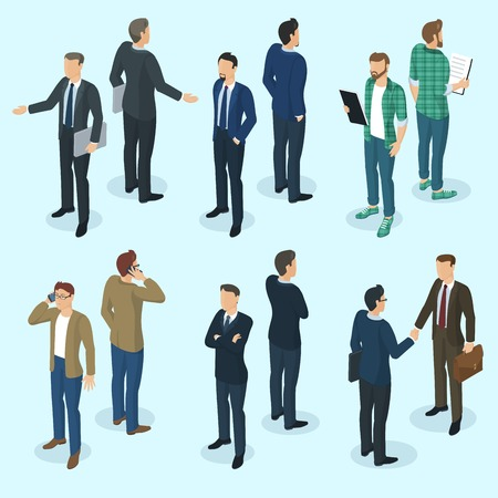 Set of isometric 3d flat design vector standing  business people different characters, styles and professions. Isometric acting man teamwork in office front and back view collection.